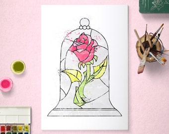 Rose, Beauty and the Beast, Belle, Disney Princess Poster, Watercolour Art, Printable Instant Download
