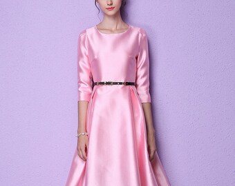 Woman dress pink satin flared vinage elegant