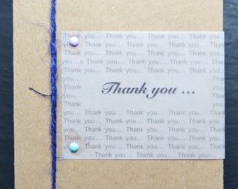 THANK YOU … with Blue Jute String on Brown Card