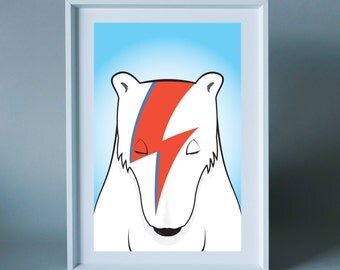 Bowie Bear - wall art print for children's room/nursery, the home or for any music lover/Bowie fan.