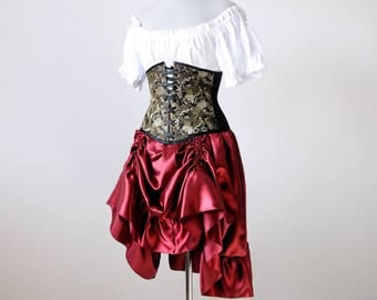 50% OFF Steampunk costume medieval renaissance clothing bustle Bronze skirt ren faire dress peasant halloween costume women pirate larp