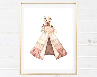 Boho Tribal Teepee and Floral Baby Nursery Printable - Watercolor Teepee Floral Wall Art - Printable Nursery Art - Tribal Boho Printables