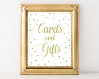 Baby Girl Gold and Pink Cards and Gifts Party Decor - Printables - Baby Shower Print - Baby Shower Decor - Confetti Print - Digital Download