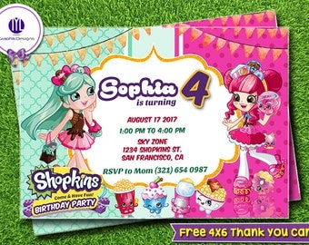 Kit Digital Shopkins Etsy - Blank shopkins birthday invitations