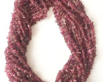 Pink Tourmaline Chips Beads, Polished Chip Beads, Pink Tourmaline Beads, 36 inch strand