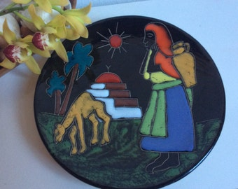Vintage colourful ceramic wallplate 70s?