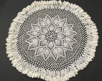 """18"""" Vintage Round Crocheted  Doily or Table Cover White Color Ruffle Edge"""