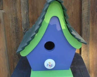 Funky Purple Green Birdhouse, Wooden Birdhouse, Painted Birdhouse, Outdoor Birdhouse, Unique Birdhouse, Bird House