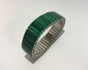 Expandable metallic 80s malachite bracelet