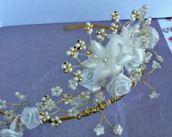 Gold, pearl & flower tiara, wedding hair accessories.