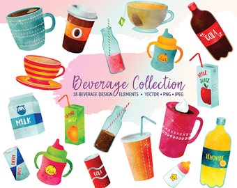 Beverage Clipart - Watercolor Clipart - Drinks Clipart Set- INSTANT DOWNLOAD - Digital Printable - Printable Download