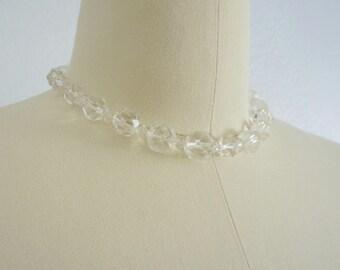 1940s Crystal Clear choker necklace   vintage choker   vintage 40s necklace