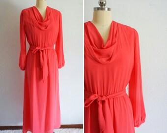 1970s Marek pink maxi | vintge 70s maxi dress | vintage pink maxi dress