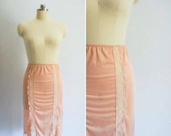 vintage Coral Pink half slip | vintage half slip | vintage pink slip