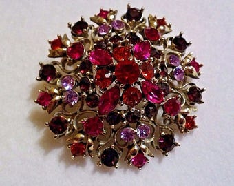 Vintage Round Domed Rhinestone Brooch Pin Signed Graziano