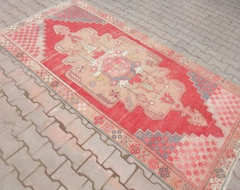 Vintage Rug, Loveful Colors,Turkish Rug,Faded Colors Furnishings Rug,Unique Hand Woven Lovely Pink Colored Area Rug,Floor Rug, 4'3''x8'7''ft
