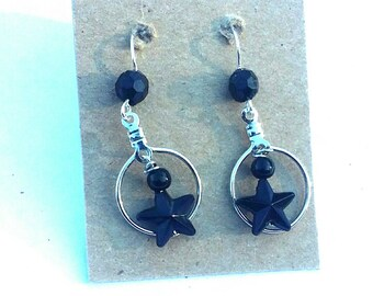 Black Star Bead Hoop Earrings