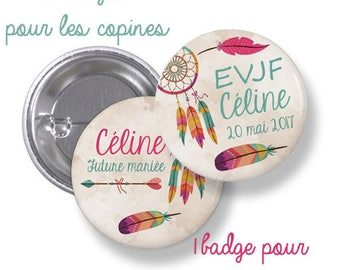 10 badges round where large metal - 44mm - customizable - model Bohemian chic, tribal, feathers - Bachelor Girl