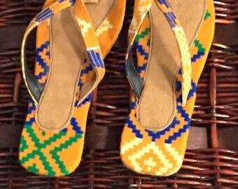 sandals, handmade, handwoven kente