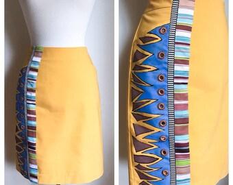 Hand Painted Skirt / Yellow Skirt / Size 12 Skirt / 90's Skirt / Mustard Yellow / Straight Skirt / Women's Clothing / Business Casual