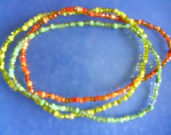 "LoliRosa Set of 3 ""Citrus"" Glass Seed Bead Stretch Anklets Summer Festivals Beach"
