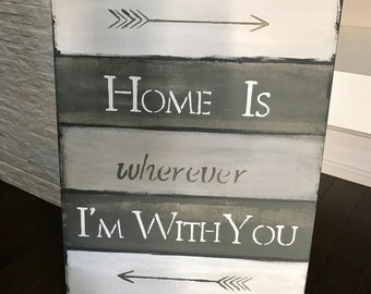 Home-love home-kitchen-family room-handmade-homemade-hand painted-wood sign-wall art-wall hanging-neutral-grey-custom