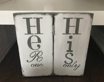 Hers And His Live Love Family Marriage Bedroom Decor Bathroom Decor Handmade Hand Painted Rustic Wood Distressed Wall Signs Neutral