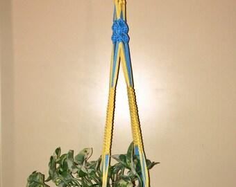 Macrame Planthanger of cotton ribbon yarn
