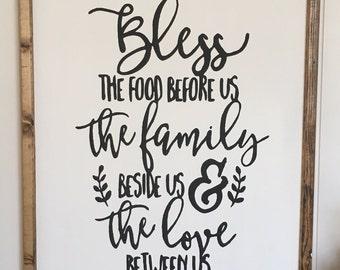 Handmade framed wooden sign // Home Decor / Wall Art / Bless food, family & love sign