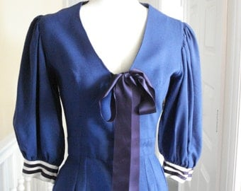 Gina Fratini 1970s nautical style day dress with large floppy bow