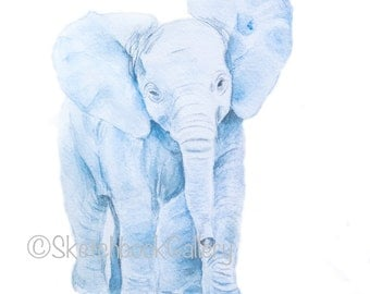 Elephant Printable, Watercolor Image