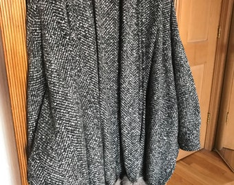 Vintage 100% Wool Poncho Cape Style Coat with Raccoon Tails