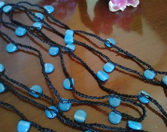 crocheted necklace with glass inserts//long crochet necklace with glass details//crochet