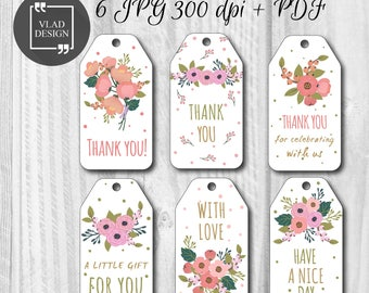 Printable Thank you Tags, Favors Tags, Wedding's Day labels, Instant download, DIY, Flowers Tags, Holiday tags, Gift tags, Wedding labels