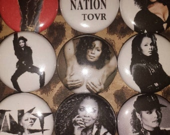 9 Pin Button set  Janet Jackson 1 inch Buttons