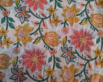 100% Cotton Hand Block Printed Multicolour Floral Design Fabric By The Meter
