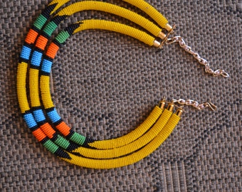 African Maasai Beaded Necklace|3 in 1 Yellow Necklace| African Jewelry | Tribal Necklace |One size fits all | Gift for Her