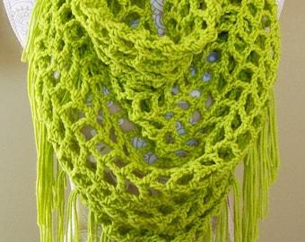 Boho scarf fashion /Green spring scarf /Summer scarf /Women's scarves /Spring scarf crochet/Summer shawl wrap/Lightweight scarf/Spring scarf