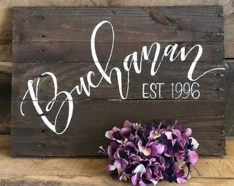 Custom Reclaimed Wooden Hand Lettered Name & Est. Sign (shown in Oxford Brown)