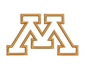 6 sizes -  University of Minnesota Embroidery Design, University of Minnesota Applique Design, Machine Embroidery, Instant Download