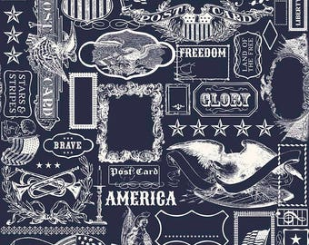 4th of July Fabric - Riley Blake Lost and Found Americana - Patriotic Fabric - Americana Main Navy fabric - Fabric by the yard