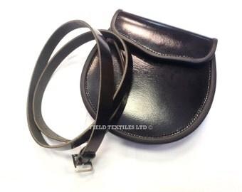 Black Leather Scottish SPORRAN/PURSE With a Belt - Brand NEW in Box - E60