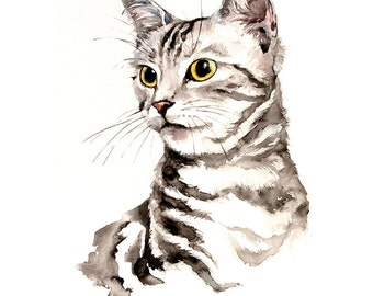 Gift pet lovers, original pet art, personal portrait, portrait cat, pet lover gift, memorial pet gift, pet gift for her, personalised pet