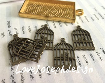 30 Pieces /Lot Antique Bronze Plated 26mmx11mm birdcage charms