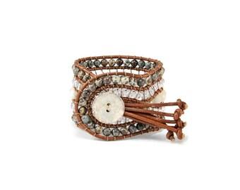 Boho Luna Poeta * 5 strand Statement Bracelet. Boho Style. Bohemian Jewelry. Semiprecious stones. Gift for her. Unique Design.