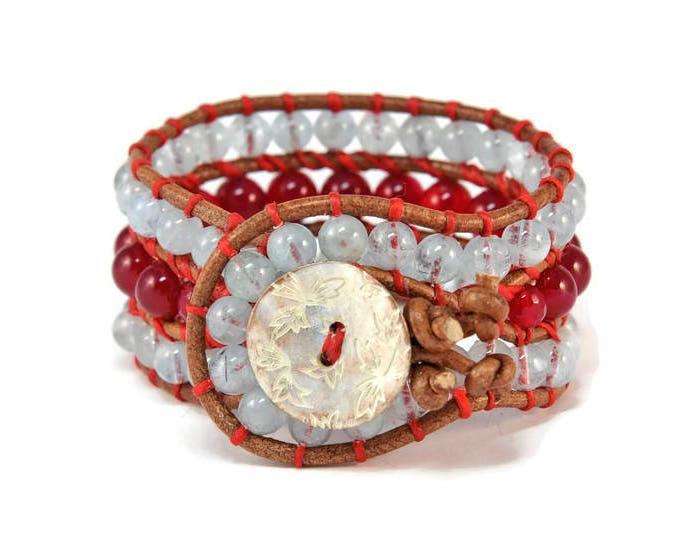 Boho Babilon * Aqua Marine & Agate. 3 strand Wrap Bracelet. Boho Style. Bohemian Jewelry. Semiprecious stones. Gift for her. Cuff Bracelet.