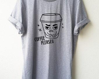 Coffee Please T-Shirt Cartoon Unisex shirt Minimal Style Size S M L Tumblr Pinterest