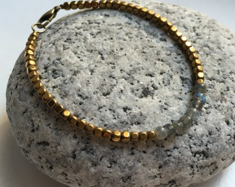 Labradorite and Hematite Bracelet - For grounding, help with anxiety, & psychic ability