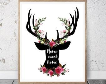 Deer Wall Art floral deer art | etsy