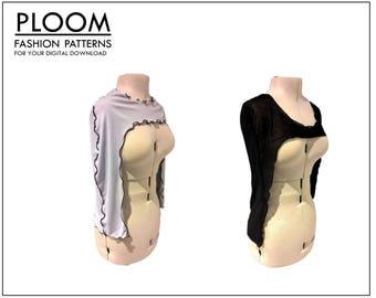 Shoulder Shrug Digital Sewing Pattern, Shrug,  easy, womans, fashion, digital sewing pattern, modern, trendy, top, clothing patterns, girls